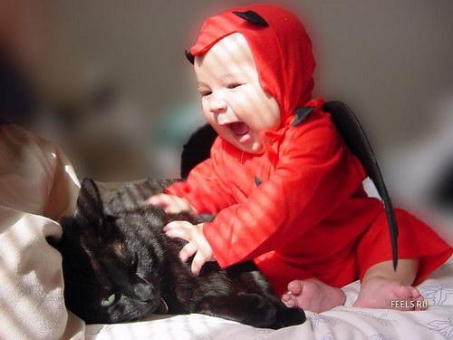 эмоции детей, кот, котик, подушечка, ребенок и кот
