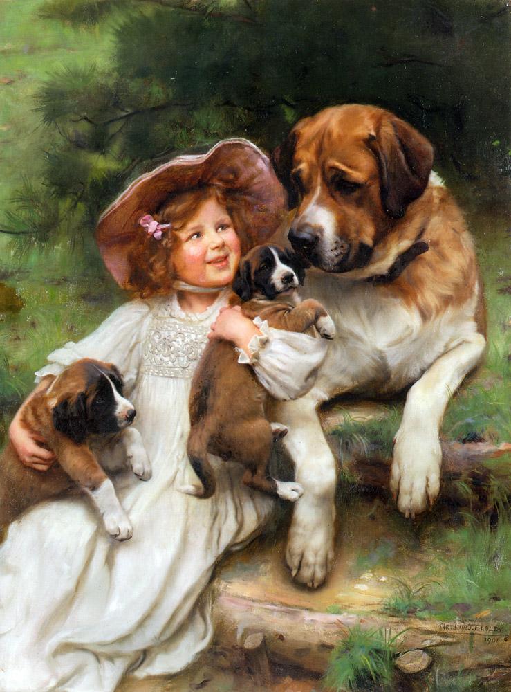 девочка и щенки, питомцы, сенбернар, собаки в живописи