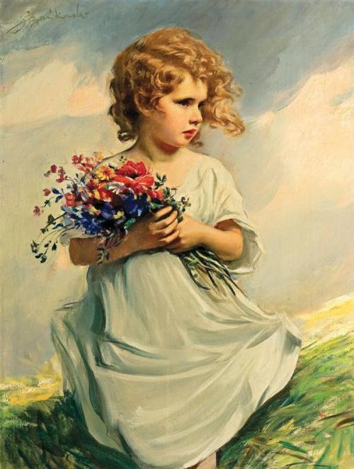 ветер, букет, локоны, девочки в живописи, девочка с букетом, портреты детей