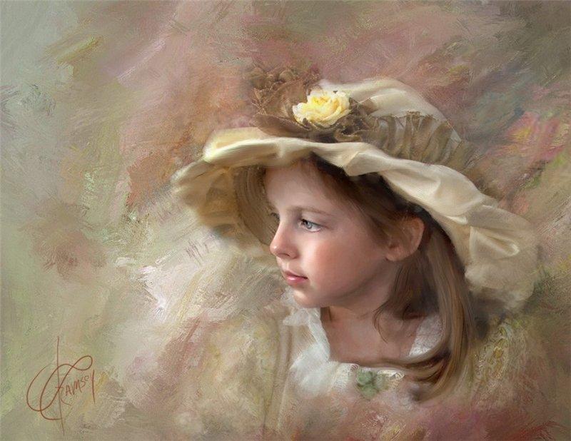 аристократка, девочка в шляпе, подросток, живопись и дети