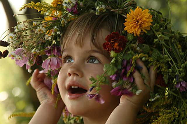 венок, полевые цветы, лето, девочка в веночке